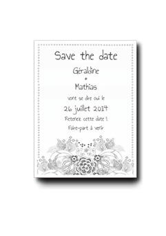 Save the date dessin floral