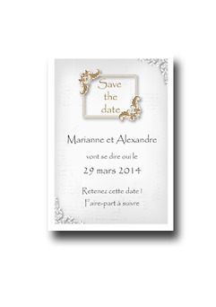 Save the date baroque doré