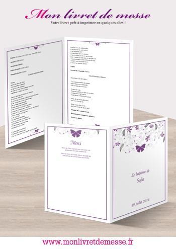 livret de baptme thme fleurs et papillon - Livret De Messe Mariage Word