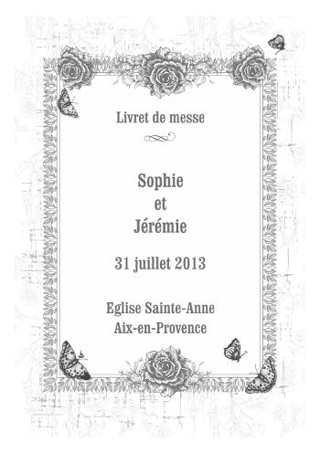 livret vintage roses et papillons - Exemple De Livret De Messe Mariage